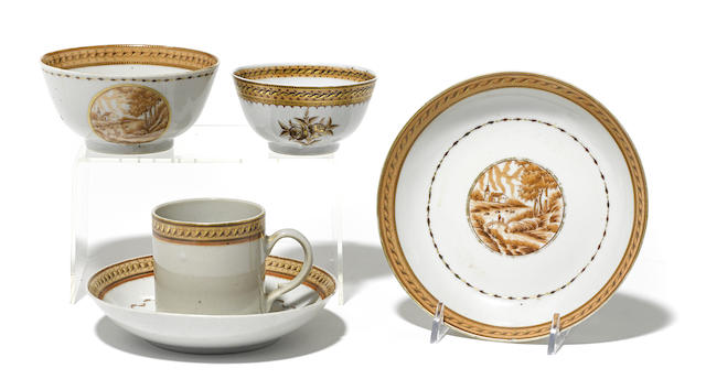 A group of Chinese Export porcelain sepia decorated tableware