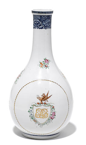 A Chinese Export porcelain armorial bottle