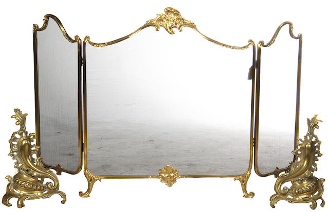 A group of gilt bronze fireplace accessories
