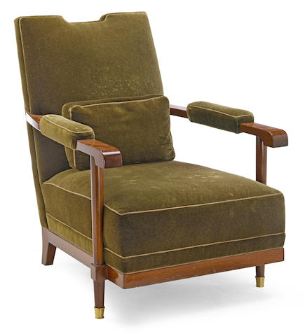 An Art Deco gilt bronze mounted mahogany and mohair upholstered armchair