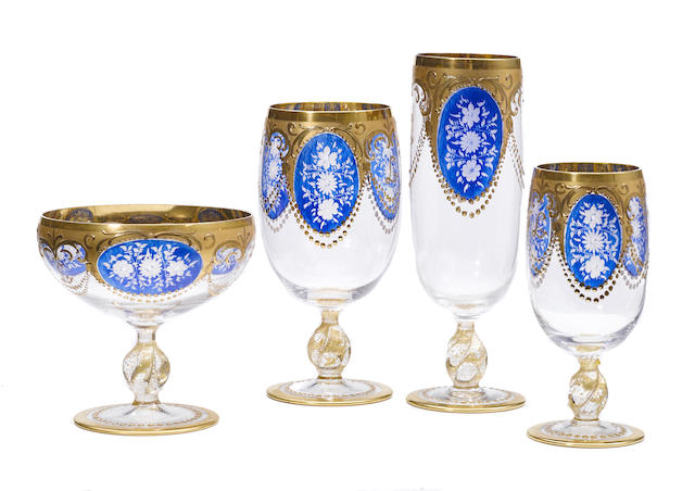 A group of forty gilt and enameled glass goblets