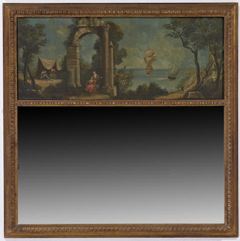 A Louis XVI style giltwood and paint decorated trumeau mirror