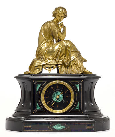 A Napoleon III gilt bronze and malachite inlaid back slate figural mantel clock