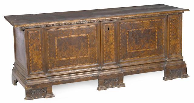 An Italian Baroque inlaid walnut chest