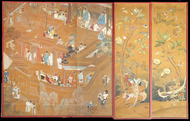 An assembled set of five chinese wall paper panels, framed as three