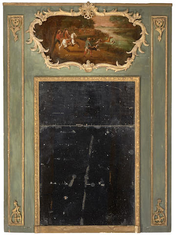A Louis XV style painted and parcel gilt trumeau mirror