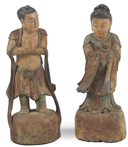 A pair of Chinese polychrome wood figures