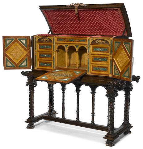 An impressive Continental Renaissance Revival gilt metal mounted mahogany chest on stand