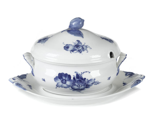 A Royal Copenhagen porcelain soup tureen, cover and stand