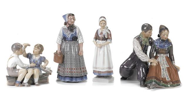 Four Dahl Jensen porcelain figures