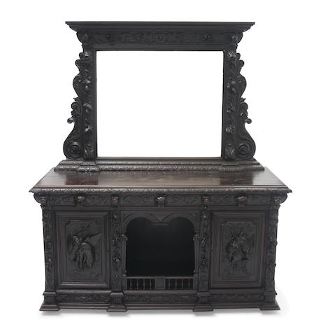A French Renaissance style carved buffet and mirror