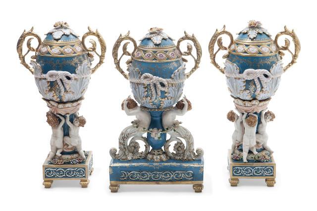 A porcelain three piece garniture