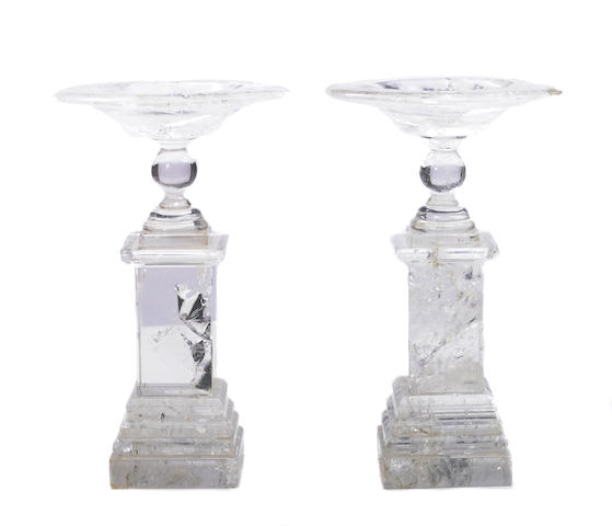 A pair of rock crystal tazzas