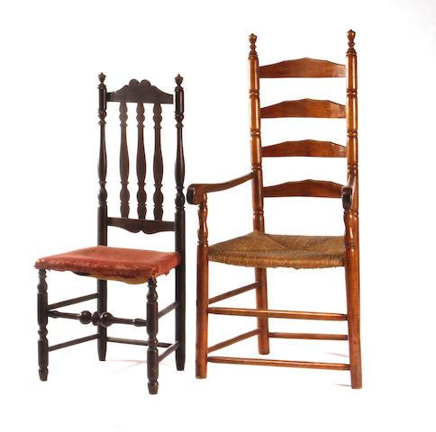 A maple ladder back armchair