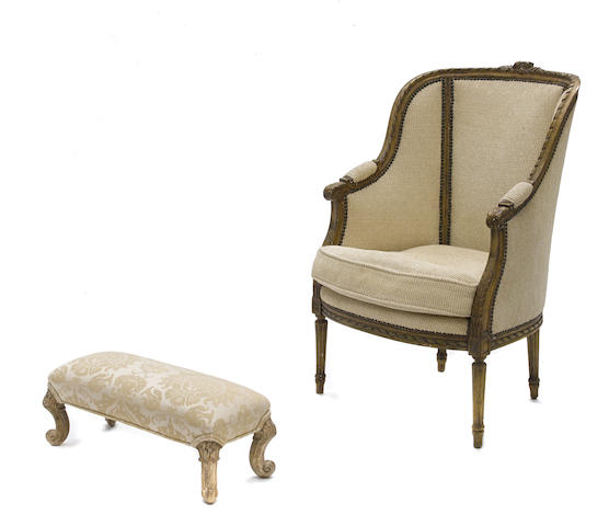 A Louis XVI style paint decorated bergère together with a Continental Rococo foot stool