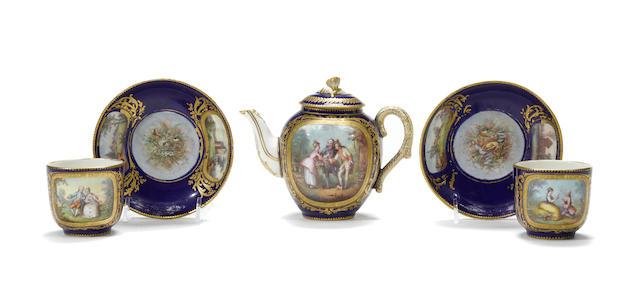 A Sevres style porcelain part tea service