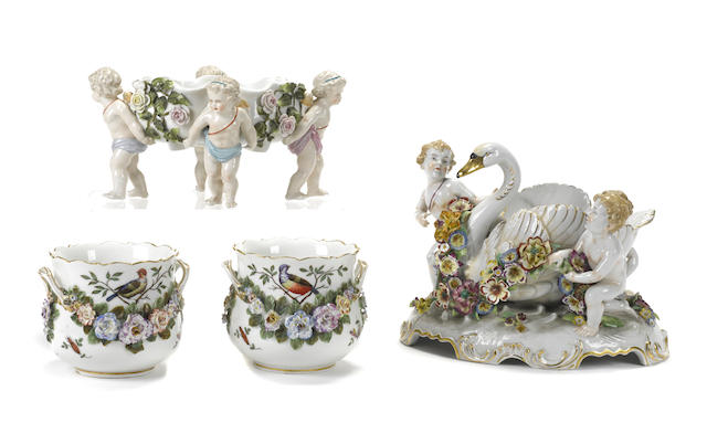 A group of four German porcelain jardinières