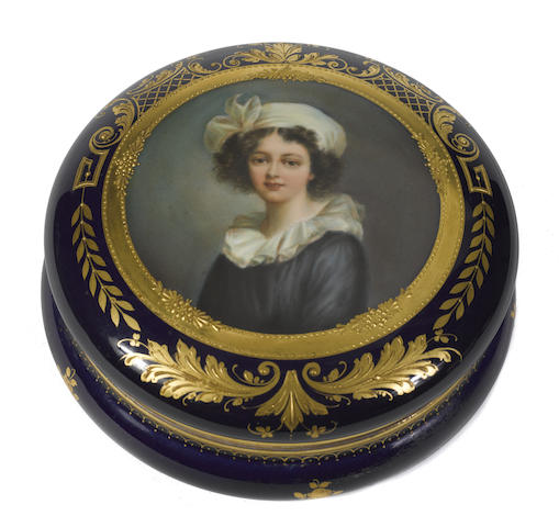 A Dresden porcelain covered dressing box and an egg form box