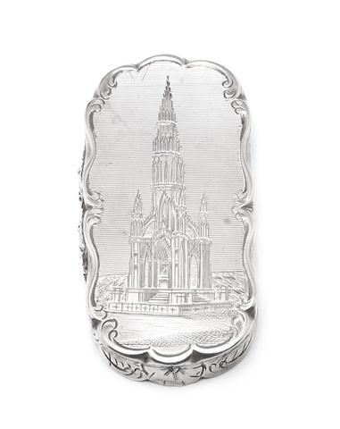 A Victorian silver 'Scott Memorial' vinaigrette