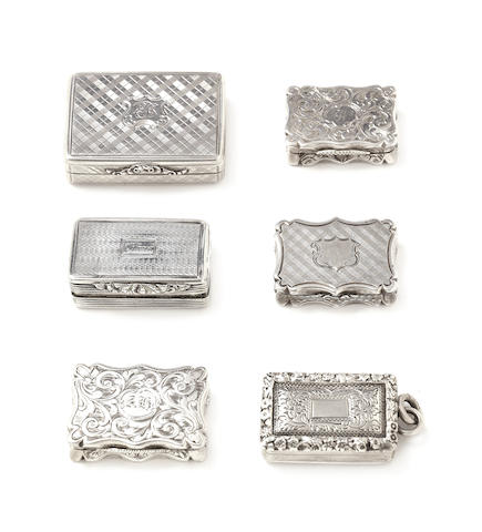 A collection of six silver vinaigrettes