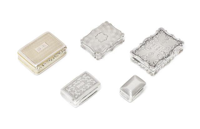 A collection of five silver vinaigrettes