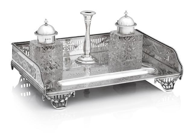 A Victorian silver desk stand