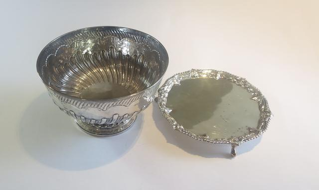 A George III silver rose bowl