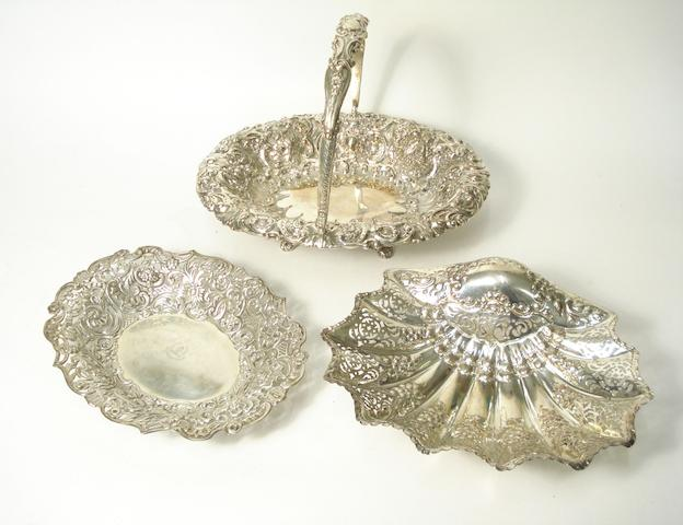 A late Victorian silver swing handled fruit basket
