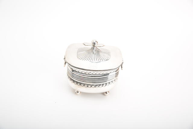 A late Victorian silver biscuit barrel