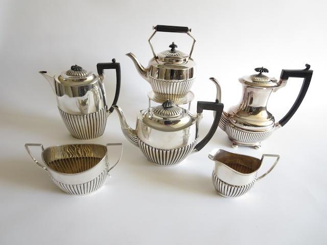 A late Victorian four piece silver tea service
