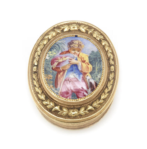 A George III 18 carat gold vinaigrette with enamel panel