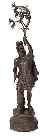 A Neoclassical style metal lamp modeled as a Roman centurion