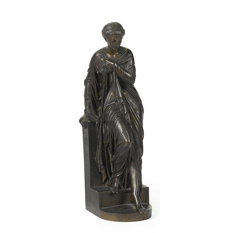 A French patinated bronze sculpture of a classically draped woman; after the model by Aizelin