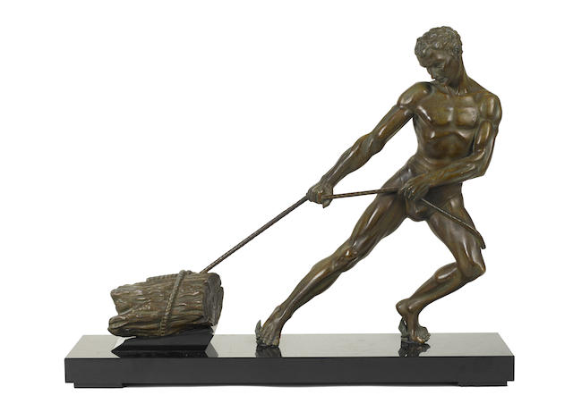 A Continental patinated bronze figure of an athlete