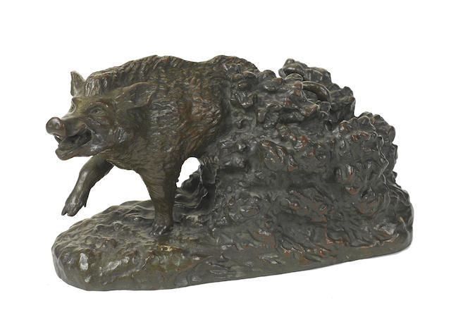 A French patinated bronze model of a boar