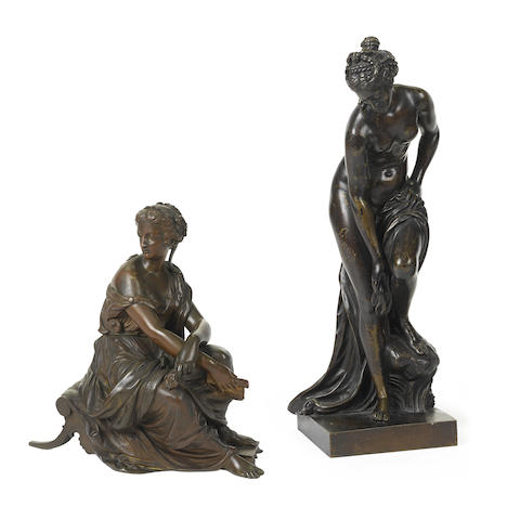 A French patinated bronze of a classical seated maiden