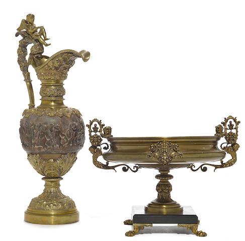 A Renaissance Revival bronze and slate tazza and a Renaissance Revival bronze ewer