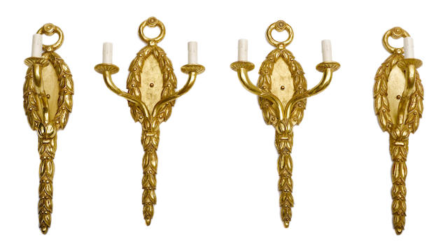 Two pairs of Neoclassical giltwood wall sconces