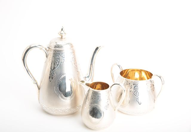 A matched Victorian three piece silver tea service