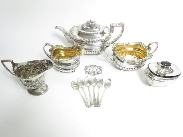 A George III three piece silver tea service