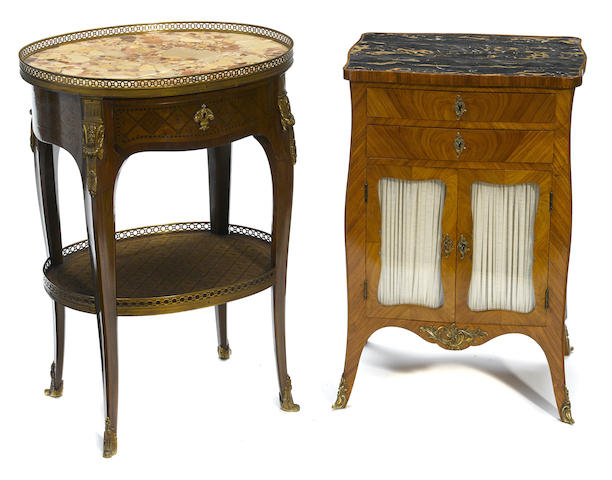 A Louis XV style gilt bronze mounted foliate inlaid marble top occasional table together with a French walnut bedside cupboard