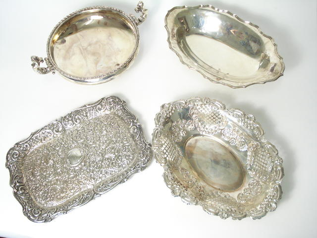 A silver twin handled bowl