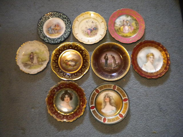 A group of nine Continental porcelain cabinet plates