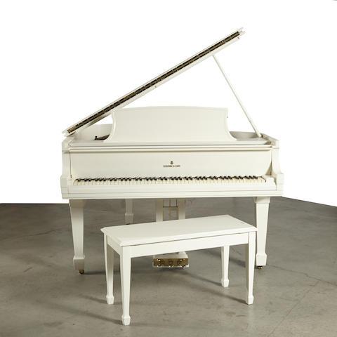 A Steinway white piano