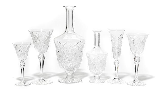 A suite of cut glass barware