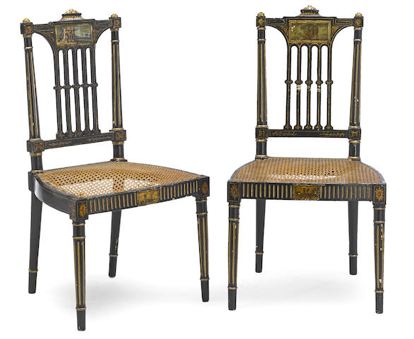 A set of five George III paint decorated, parcel gilt, ebonized and caned chairs