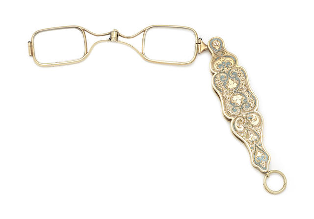 A late 19th century gold and enamel lorgnette