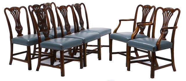 A set of twelve George III style mahogany chairs