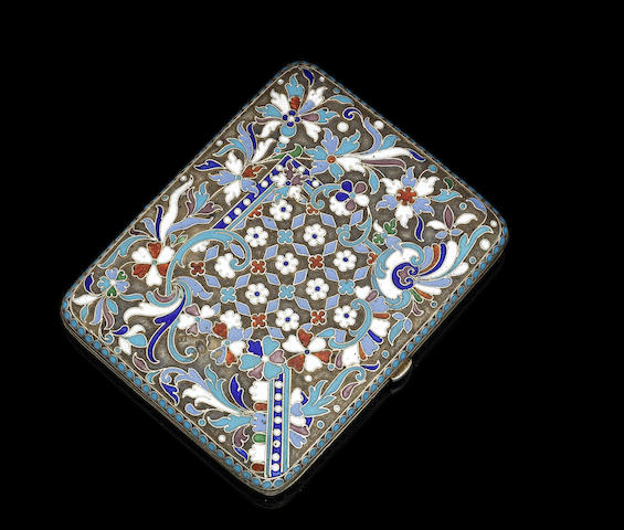 An early 20th century silver and enamel Russian cigarette case