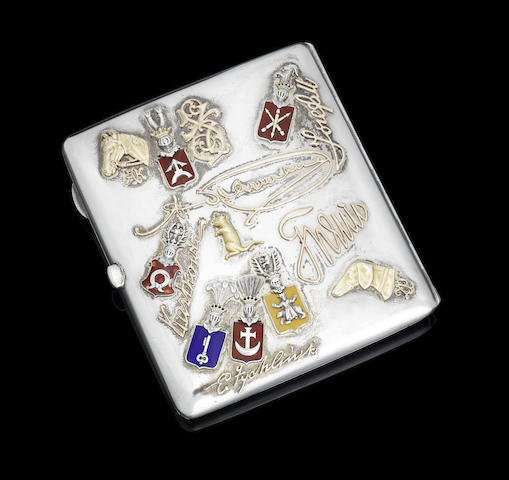 An early 20th century Russian silver, gold and enamelled 'souvenir' cigarette case